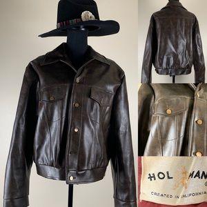 Vintage Jacket vegan Leather Indiana Jones Bomber